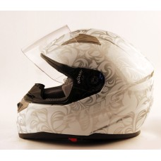 Шлем FF389 L белый с узорами