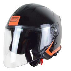 Шлем (открытый со стеклом) ORIGINE PALIO FLOW черный/оранжевый глянцевый XS