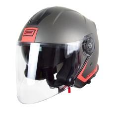 Шлем (открытый со стеклом) ORIGINE PALIO FLOW черный/красный матовый S