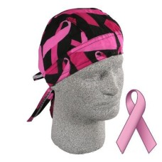 бандана Bandanna, 100% Cotton, Breast Cancer Pink Ribbon, Black BBC01