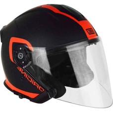 Шлем (открытый со стеклом) ORIGINE PALIO FLOW черный/оранжевый глянцевый М